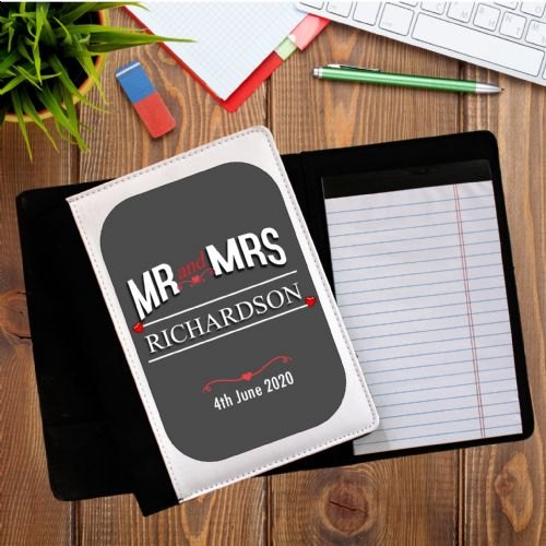 Personalised Mr & Mrs Notebook Notepad with paper N11